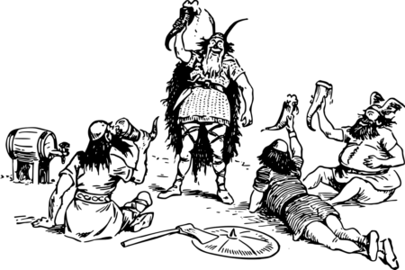 Une gravure représentant plusieurs Vikings caricaturaux en train de boire dans des cornes