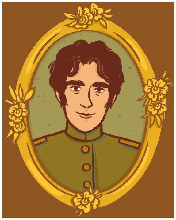portrait dans un cadre doré orné de fleurs d'un jeune homme aux cheveux noirs et courts. Il porte un uniforme militaire aux couleurs vertes.