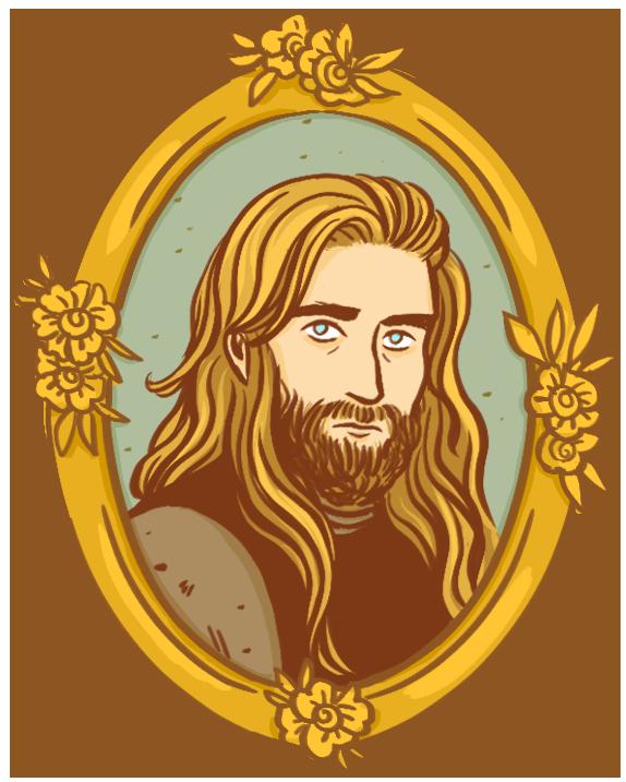 portrait dans un cadre doré orné de fleurs d'un homme blond aux yeux bleus. Il a les cheveux blonds et longs, lâchés sur ses épaules, et une barbe.