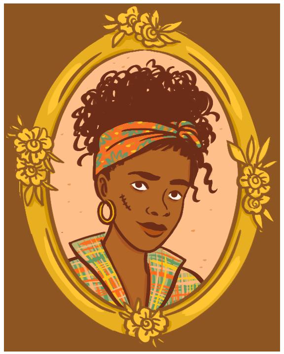 portrait dans un cadre doré orné de fleurs d'une jeune femme noire, les cheveux relevés sur la tête à l'aide d'un foulard coloré. Elle a une boucle d'oreille et une cicatrice sur la joue. Vêtue d'une chemise en tissu madras, aux motifs à carreaux très colorés.