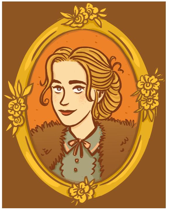portrait dans un cadre doré orné de fleurs d'une jeune femme blonde aux yeux gris, aux cheveux relevés en chignon, avec quelques mèches qui s'échappent. De la fourrure sur ses épaules et un petit col noué sur sa chemise.